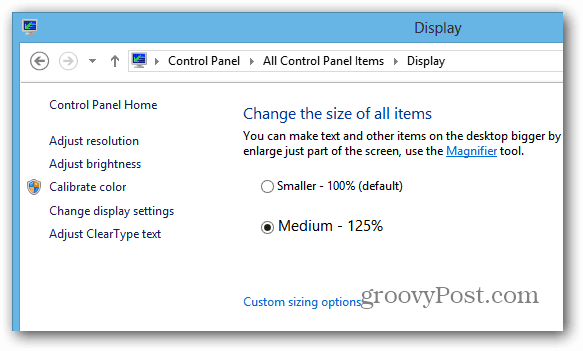 Surface RT Display Options