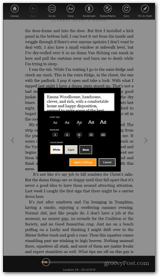 Surface RT Kindle App
