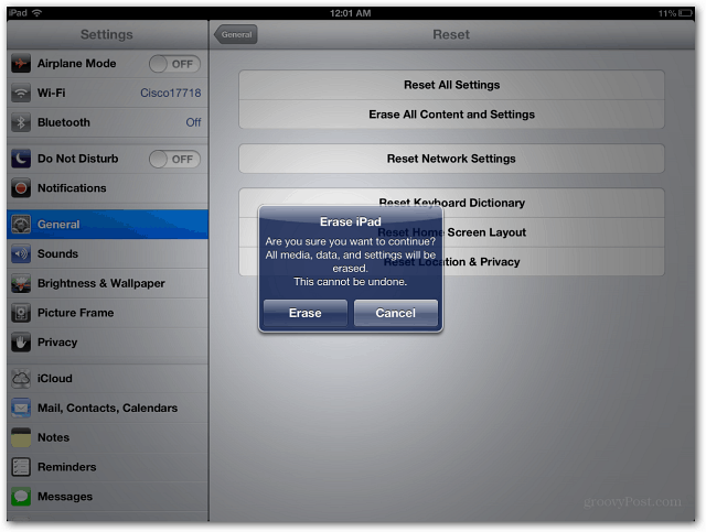Verify Erase iPad