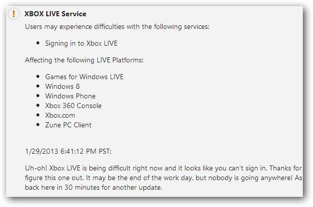 Xbox Live Service Update