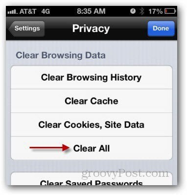 clear history cache iphone ipad