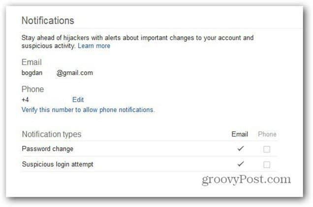 google account settings notifications
