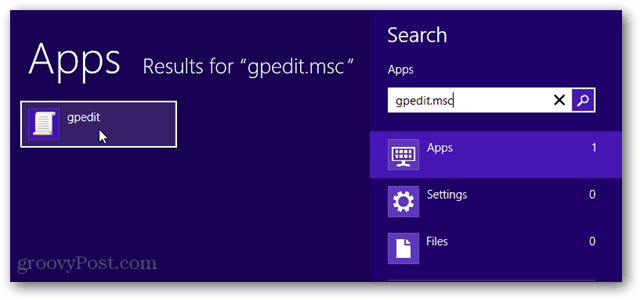 open gpedit from win 8 search