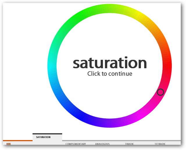 saturation click to continue