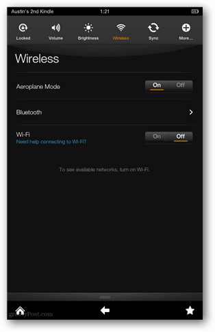 disable kindle fire wifi