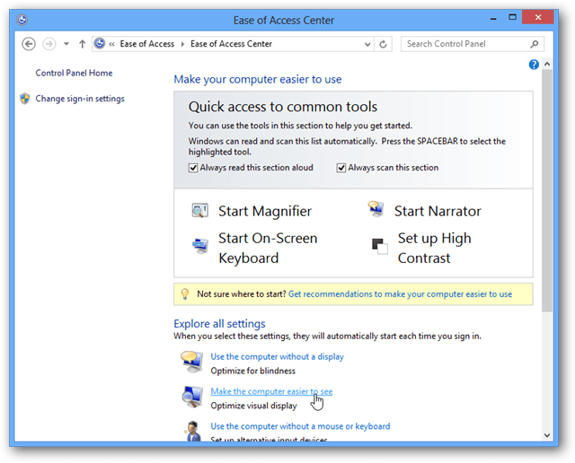 quick access to common tools