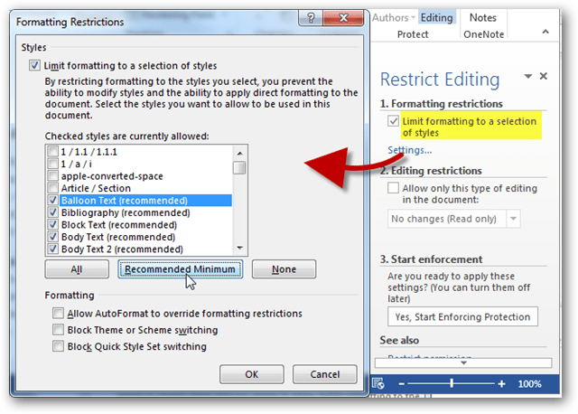 formatting restrictions