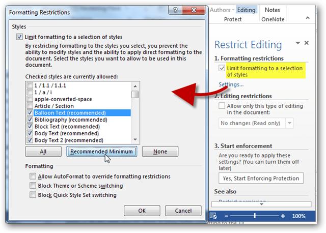 formatting restrictions