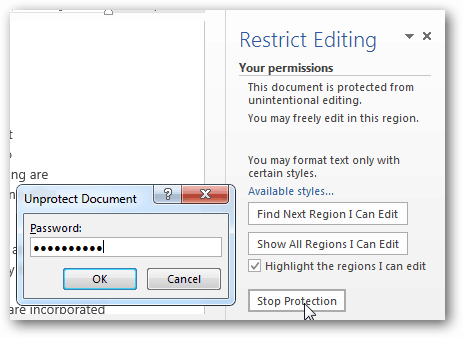 unprotected document password unlock