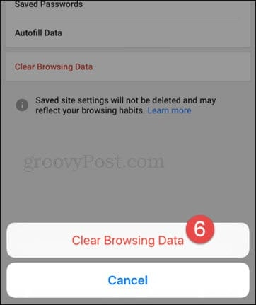 confirm clear browsing data