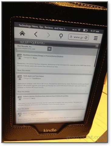kindle paperwhite experimental browser in action