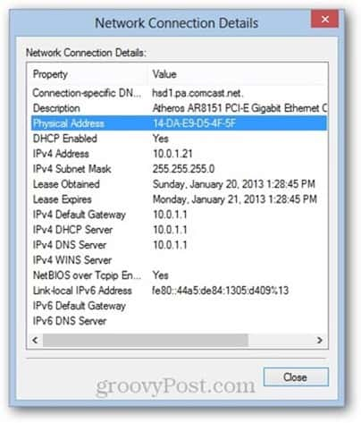windows 8 mac address PHYSICAL ADDRESS