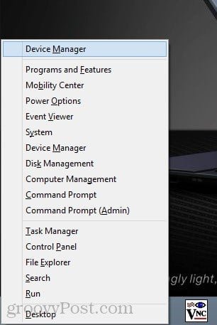 open device manager in windows 8