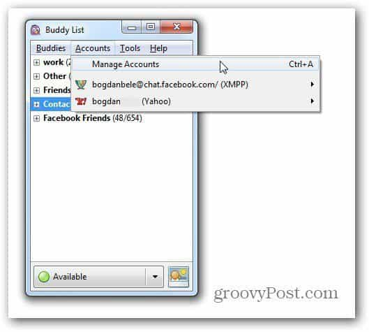 pidgin accounts manage