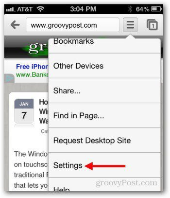 clear chrome cache history iphone - click settings