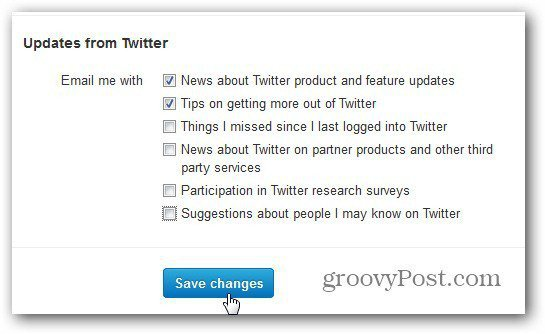 twitter settings email notifications customize save changes