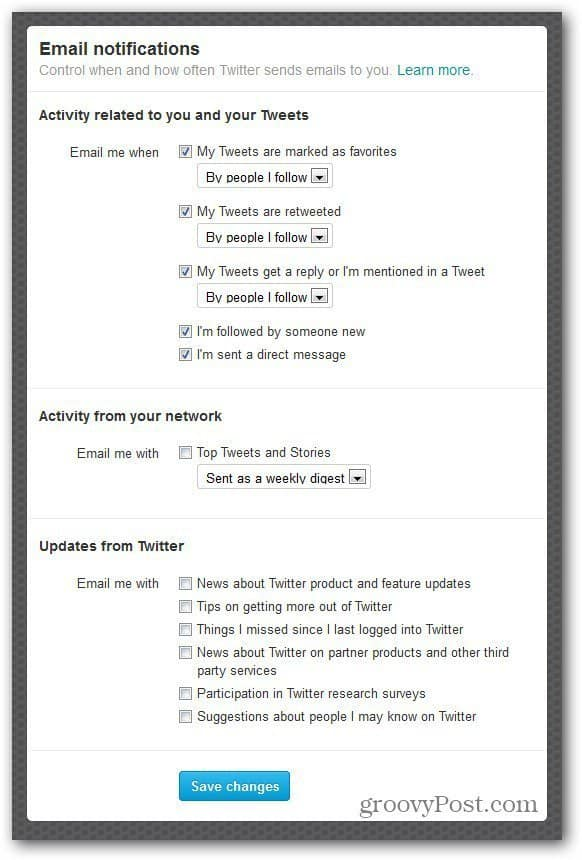 twitter settings email notifications customize