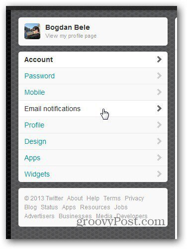 twitter settings email notifications