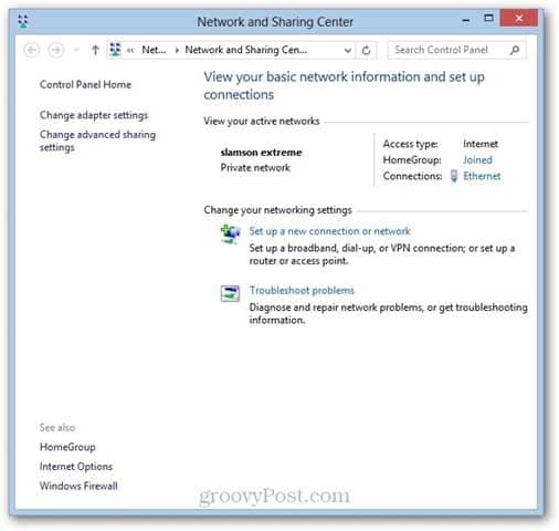 Windows 8 Network Sharing Center WOL