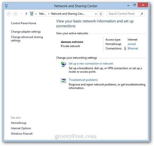 Windows 8 Network Sharing Center WOL