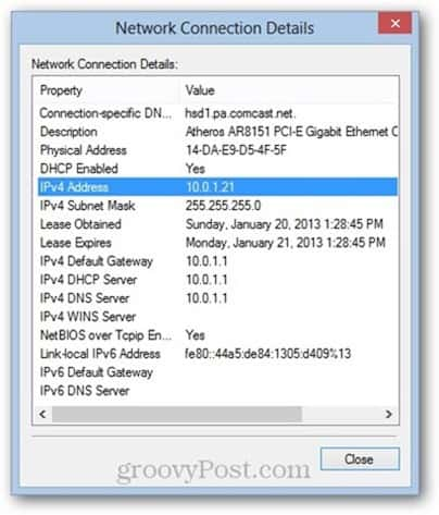 windows 8 media access control (MAC) address