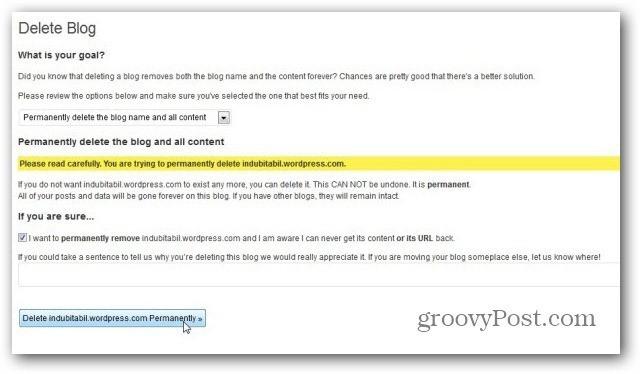 wordpress com delete blog final confirmation