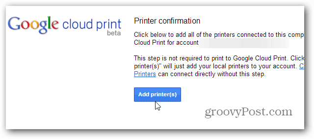 Add PRinters Cloud Print
