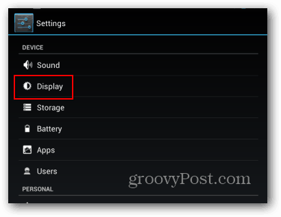 Nexus 7 Settings Display