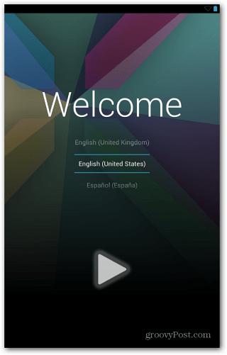 Nexus 7 Welcome Screen