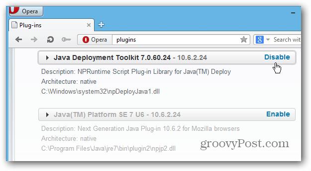 Opera Disable Java