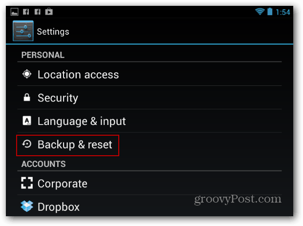 Settings Backup and Reset