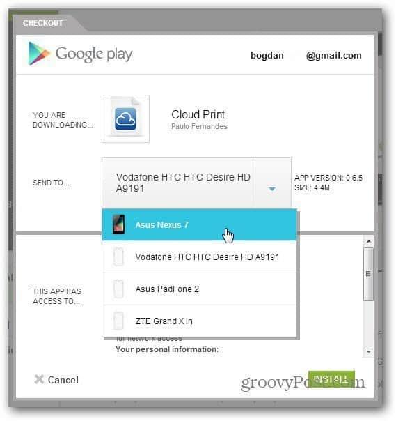cloud print beta android app