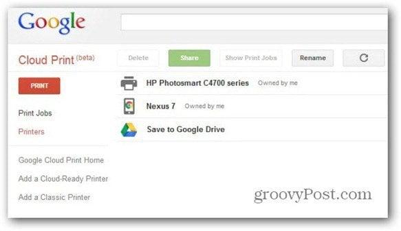 cloud print beta printer in account