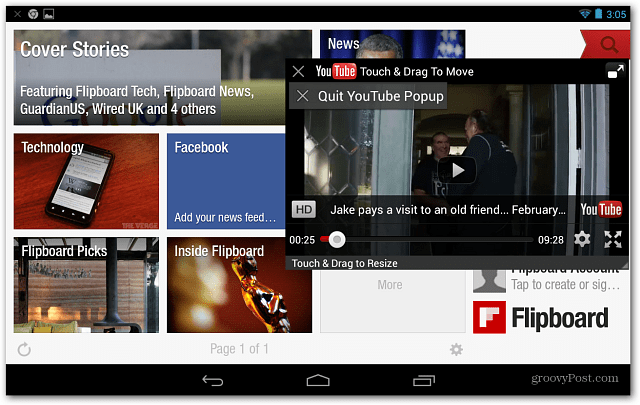 flipboard with YouTube Floating