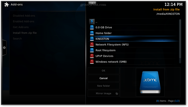 USB drives will mount automatically in xbmc