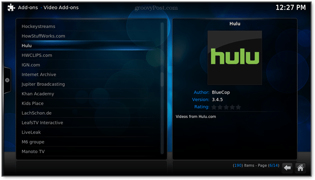 hulu is a video add-on for raspbmc