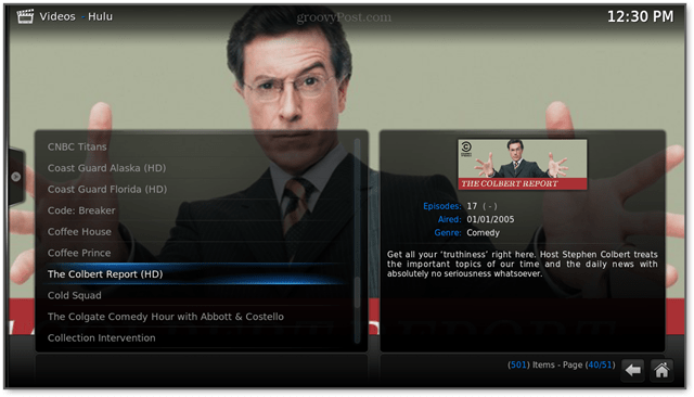 full episodes of the colbert report on hulu raspbmc