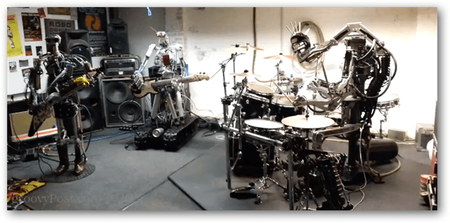Compressorhead in a garage likely stolen from some unwitting human