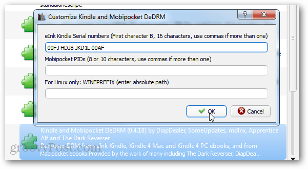 add device serial to decrypt kindle books