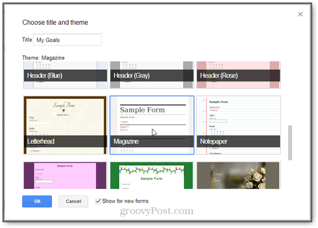 change theme in Google Forms [goal tracking]