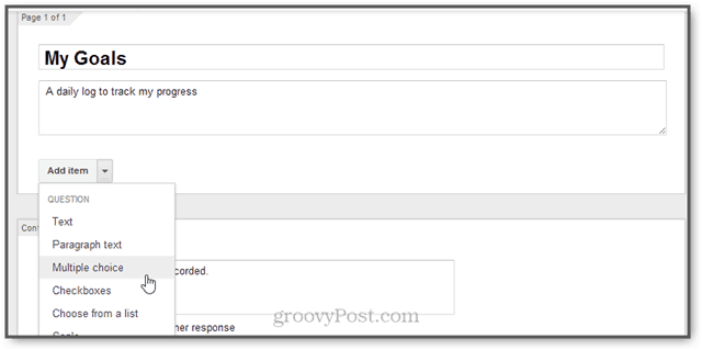 google productivity hack: goals with google forms