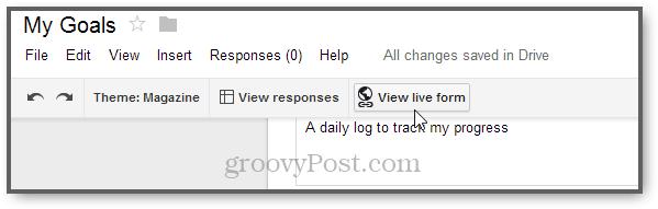 live form google for tracking goals