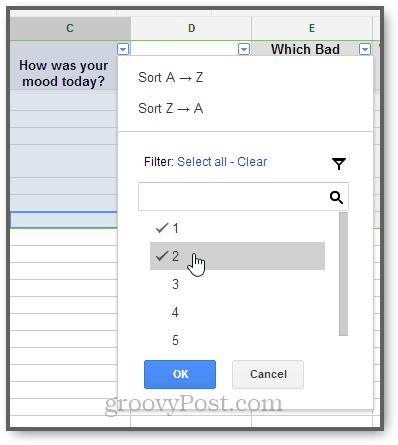 fitler google spreadsheet responses