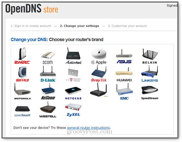 opendns setup on apple, asus, belkin, linksys, buffalo, motorola, netgear and zyxel routers