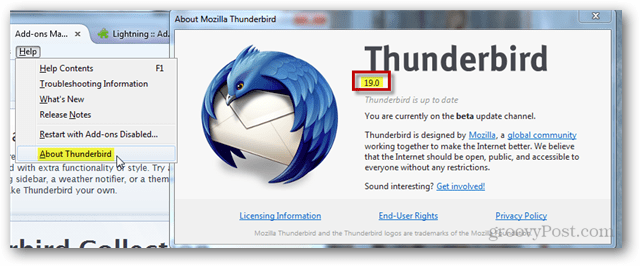 find thunderbird version