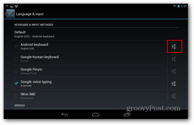 settings keyboard