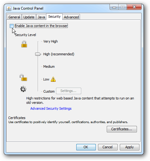 uncheck Enable java