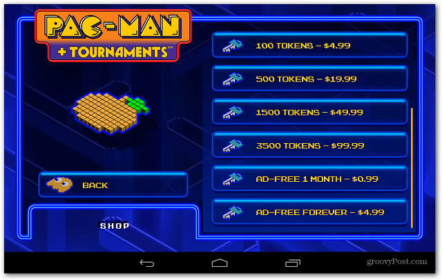 Android PacMan in app Purchases