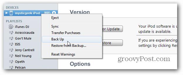 Backup iOS iTunes