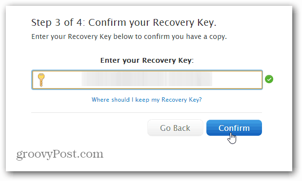 Confirm Security Key